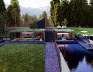 wizualizacje 3d   bialystok   nowoczesny dom na skarpie