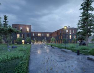wizualizacje 3d białystok | ujęcie nocne | budynek biurowy
