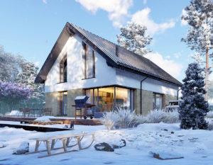 wizualizacje 3d | dom jednorodzinny | zima