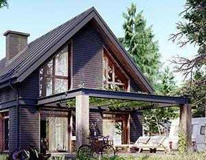 Wizualizacje 3d | Dom z drewna | Dom w lesie