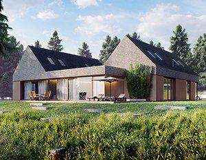 Nowoczesny dom z brązowej cegły z dodatkami z drewna | wizualizacje 3d